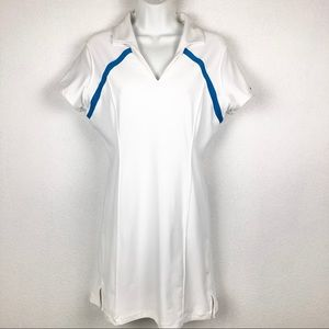 Nike Fit Dry, White Blue Accent Athletic Dress M